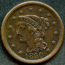 1850 (XF) 1C BRAIDED HAIR LARGE CENT