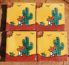 """20~MEXICAN TALAVERA POTTERY 2"""" clay handmade Tile Pancho sombrero cactus sun man"""