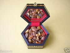 Roh Bernstein 99 g mit Holz Kiste Kästchen Schmuck Schatulle Genuine Raw Amber