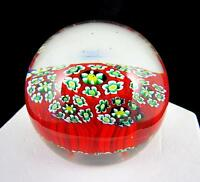 """MURANO ART GLASS MILLEFIORI WHITE BLUE & YELLOW ON RED FLORAL 1 3/4"""" PAPERWEIGHT"""