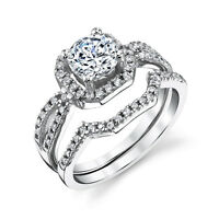 Sterling Silver CZ Engagement Wedding Ring Set Cubic Zirconia and Matching Band