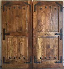 """Rustic reclaimed lumber double barn solid wood doors 72 X 82 1.5"""" thick w/rail"""