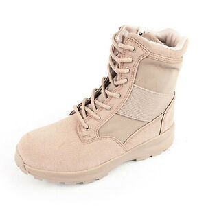Men's beige two tone synthetic suede fabric zip lace up combat ankle boot