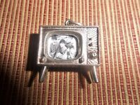 THE BEATLES STERLING SILVER MODEL 1960's TV SET CHARM WITH PHOTO OF THE BEATLES