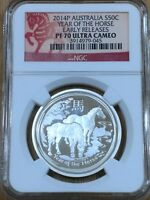2014 P Australia 50c Year Of The Horse - NGC PF70 ULTRA CAMEO ER - SILVER PROOF