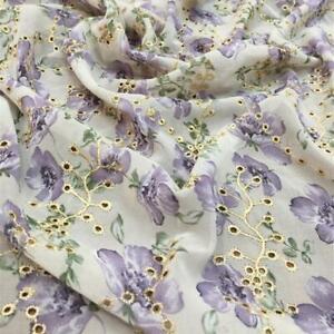 Eyelet Embroidery Purple Floral Print Chiffon Lace Fabric for Shirt Dress 1 Yard