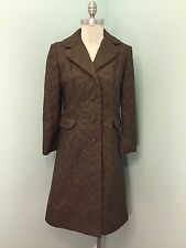 Vintage Betty Rose Brown Embroidery Long Coat Jacket Excellent Water resistant S