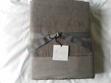 NEW AUTH RESTORATION HARDWARE SILK BORDERED LINEN OVERSIZED BED THROW 96X80 INCH