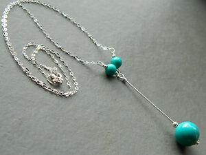 Turquoise Gemstones & 925 Sterling Silver Lariat Drop Elegant Handmade Necklace