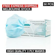 50 Pcs Disposable Face Mask Protective Filter Masks 3 Layer Melbourne Stock
