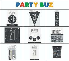 *NEW BLACK GLITZ* Age 21 - Happy 21st Birthday - Party Supplies Decorations