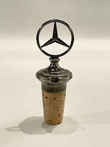 """Vintage 3.5"""" Metal and Cork Mercedes Benz Bottle Stopper"""