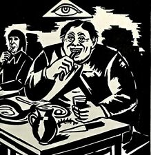 Original Plate-Signed FRANS MASEREEL Expressionist Block-Print Gluttonous Feast