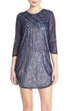 :) Parker Black Sequin Chiffon Minidress Blue NWT 2