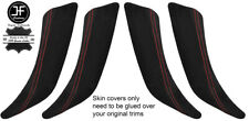 RED STITCH 2X FRONT & 2X REAR DOOR HANDLE TRIM SUEDE COVERS FOR BMW F20 11-18
