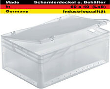 Scharnierdeckel 60x40cm transparent Lagerkiste Transportbox Euro Box Stapelbox