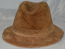 Tan Distressed Suede Leather Mens Fedora Hat One Size