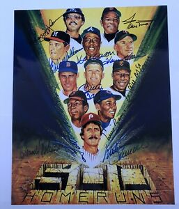 500 Home Run Club Signed by all 11 8x10 Color Photo w/coa In Brand New Frame!