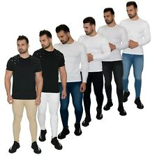 Mens Super Skinny Spray On Fit Designer Jeans Denim Stretch Comfy Fitted RRP £49