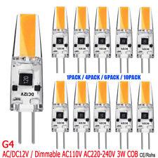 1/4/6/10Pcs G4 COB 3W LED Bulb Bi-Pin Base Replace Halogen Lamps AC110V AC/DC12V