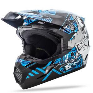 GMAX Youth MX-46Y Off-Road Hooper Helmet (SZ Youth Large, Black/Blue)