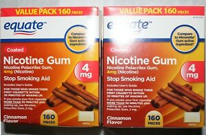 Equate Coated Nicotine 4 Mg Cinnamon Flavor 2 * 160 boxes. 320 total pieces New