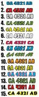 "Color Boat Registration Number Pair Decal Sticker 3""x18""+ Letter Weatherproof"
