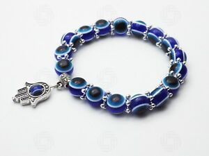 Hamsa Bracelet Hand Of Fatima Evil Eye Reiki Luck Muslim Blue Meditation Love UK