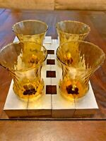"(4) VINTAGE HOMCO GLASS VOTIVE SCONCE CUP CANDLE HOLDER PEG AMBER SWIRL 5"" Tall"