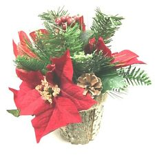 Christmas Decor Artificial Poinsettia Flowers in Pine Pot Home Party Decors