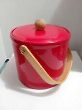 Georges Briard Ice Bucket Mid Century Red Vinyl wood handle