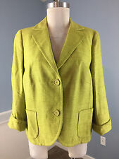 AKRIS punto 100% SILK bright green US 12 Career Cocktail Blazer Jacket 3/4 slv