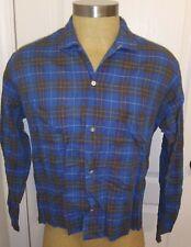 VINTAGE 1950's Towncraft Penneys Shirt Blue Shadow Plaid Dan River Fabric Sz L