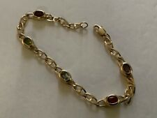 14k Yellow Gold Multicolored (5) Stones Chain Link Bracelet (New)