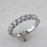 1.00 Ct Round Cut Diamond Half Eternity Wedding Band Ring 14k White Gold Over