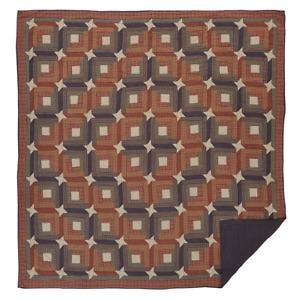 """Parker Queen Quilt 94x94"""" Log Cabin Friendship Star Pattern Burgundy Navy Tan"""
