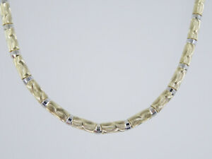 """HEAVY 3 mm FANCY ITALIAN 2-TONE SOLID 14K GOLD TEXTURED LINK NECKLACE 18"""" /14.3g"""