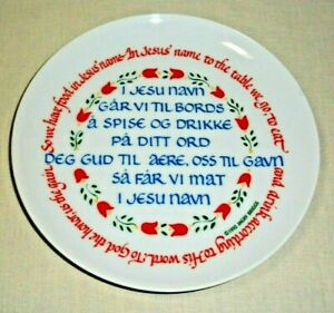 "NORWEGIAN & ENGLISH TABLE PRAYER 7.5"" PLATE JACKY BRIGGS 1992 DESIGN"