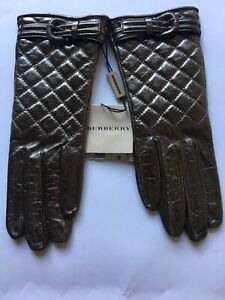 Burberry Metallic Bronze Quilted Leather Gloves size 7 NEW