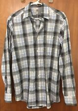 JOE by Joseph Abboud Men's Dress Grey Blue Plaid Button Up Shirt Sz S