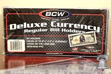 10 BCW DELUXE Regular Currency Banknote Holder Semi Rigid Bill Sleeve PVC Case