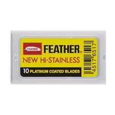 Feather New Hi-Stainless DE Razor Blades 10 Pack Shaving Cream Japanese Sharp