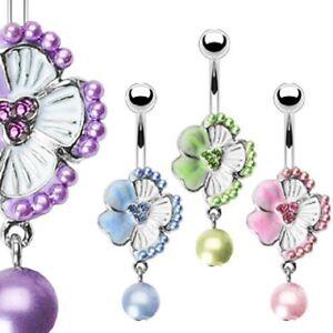 316L Surgical Steel Navel w/Enamel, Pearl & Gem Flower w/Pearl Dangle Belly Ring