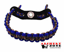 Blue and Hidden (Lost) Camo Bow paracord wrist sling w/ Leather yoke Archery