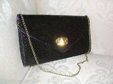 BNWT PRIMARK BLACK GOLD GLITTER SPARKLY ENVELOPE EVENING CLUTCH BAG HANDBAG