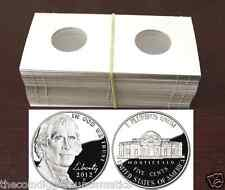 100 JEFFERSON 2x2 Nickel Mylar Display Cardboard Coin Holder Flip Mount Case