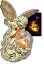Little Fairy Lying On Crackle Glass Ball Solar Light