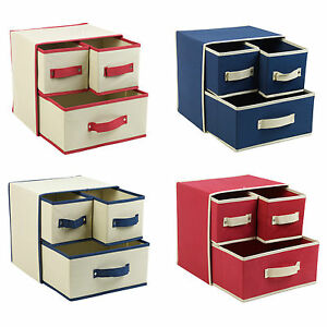 Collapsible Fabric 3 Drawer Storage Boxes Containers Bits & Bobs Organiser Unit
