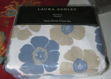 LAURA ASHLEY FLANNEL Twin Duvet Cover Set 2PC POPPY BLOOM blue tan FLORAL