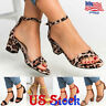 Women's Sandals Peep Toe Thick Low Heels Buckle Ankle Strap Casual Shoes Party